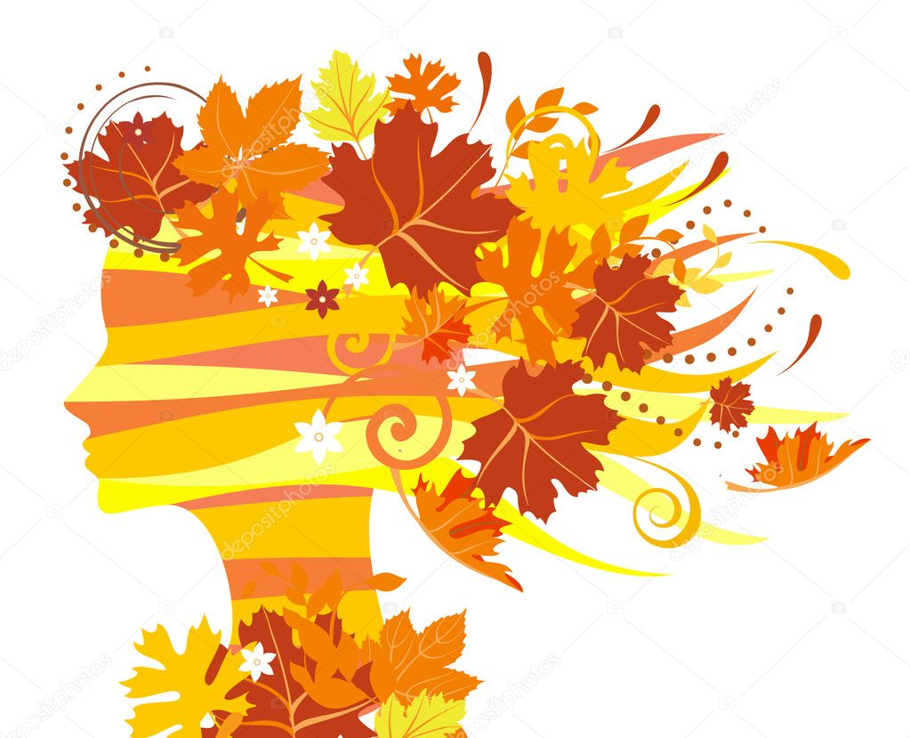 Decorative silhouette of woman with autumn leaves  Imagen vectorial #1231268