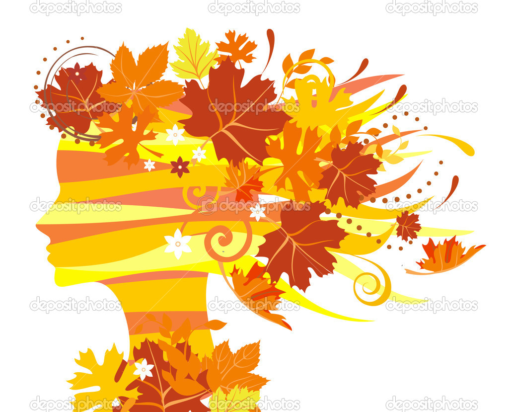 Decorative silhouette of woman with autumn leaves  Vektorgrafik #1231268