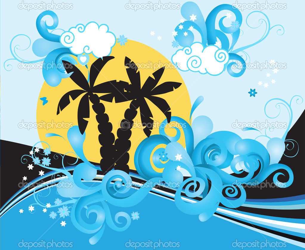 Swirling wave design with palm trees  — Stock Vector #1231667