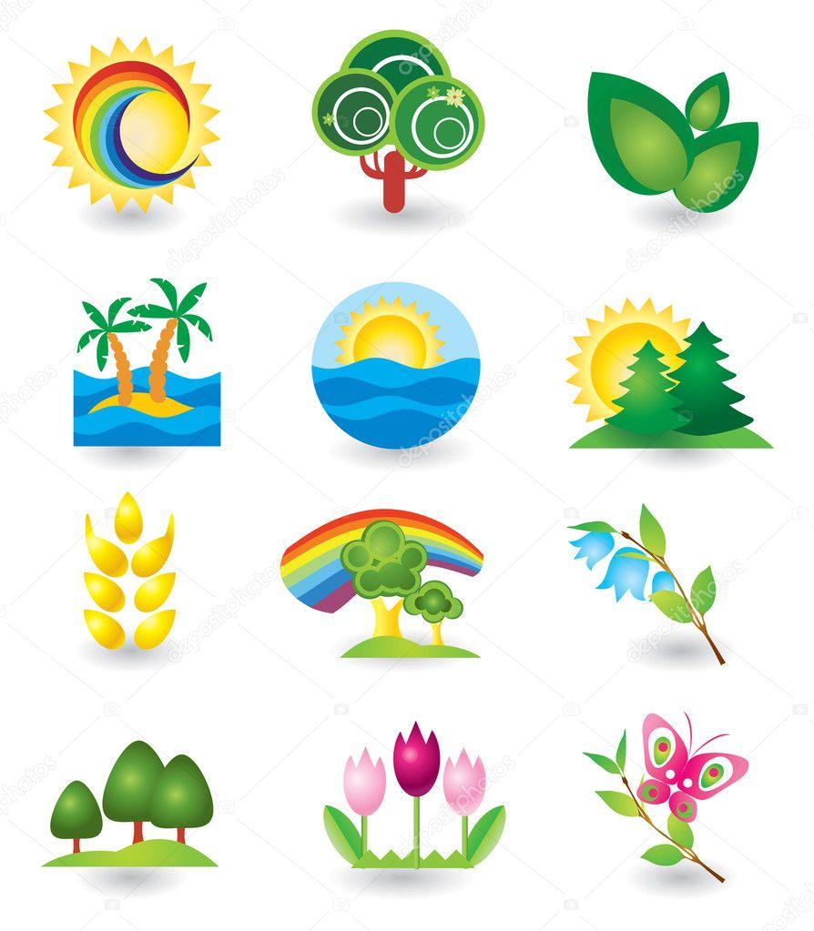 Set of nature design elements stock illustration