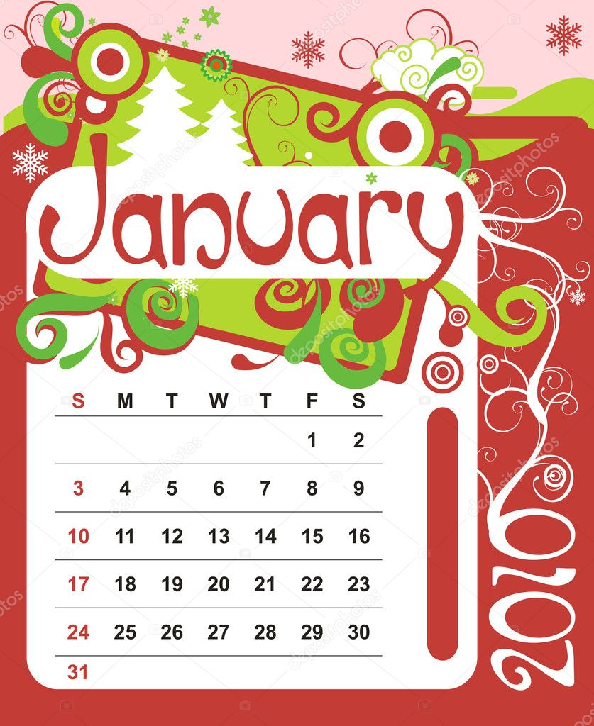 Decorative Frame for calendar - January — Stock Vector #1233307