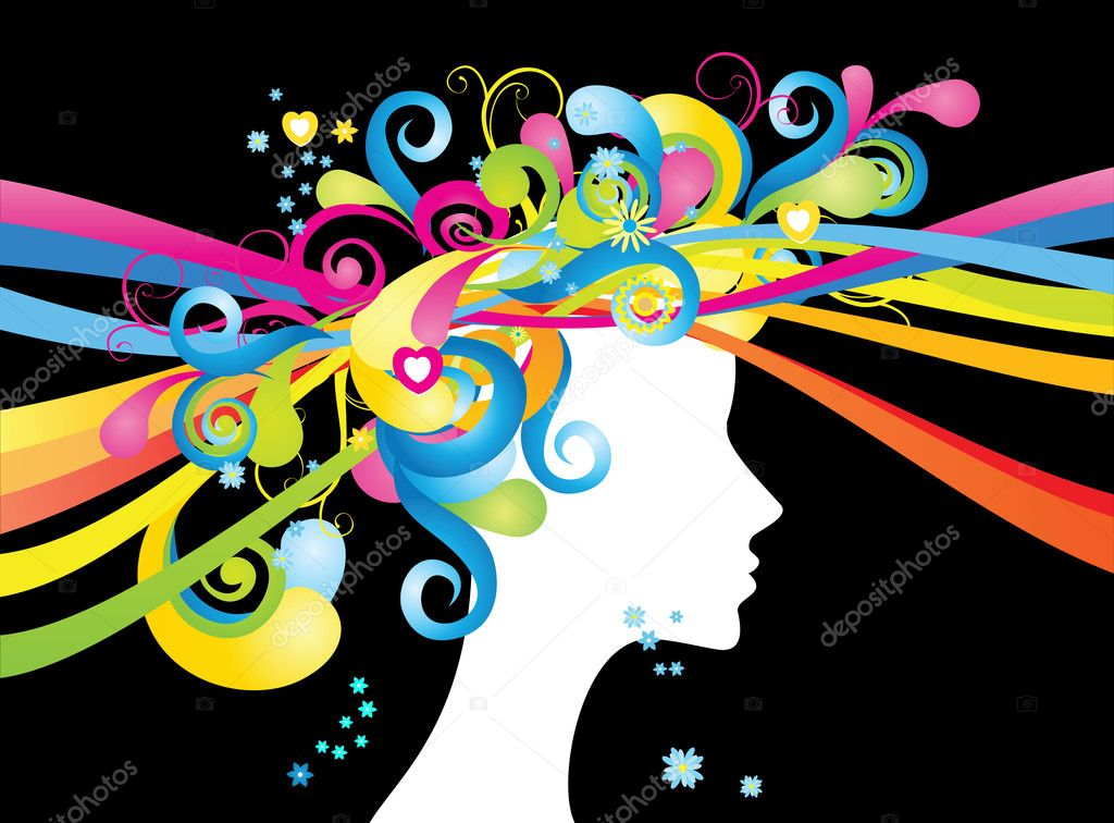 Whimsical silhouette of woman with color swirls   — Stock Vector #1235430