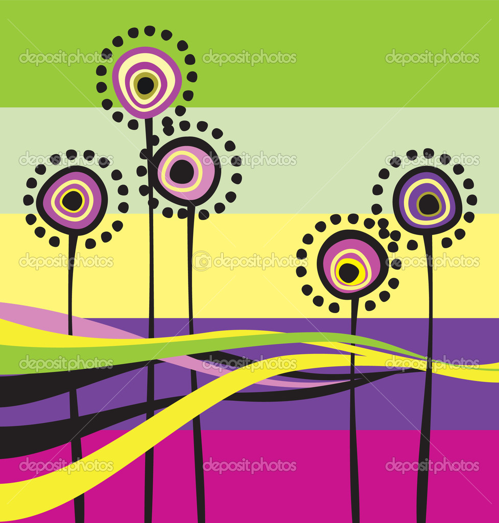 Abstract flowers on the colour background — Stock Vector #1237147