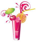 Vector glass of cherry juice — Stock Vector