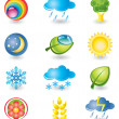 Set of icons. Nature and weather - Stock Vector