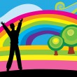 Man with rainbow - Stock Vector