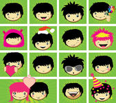Expressions of boy's face — Stock Vector
