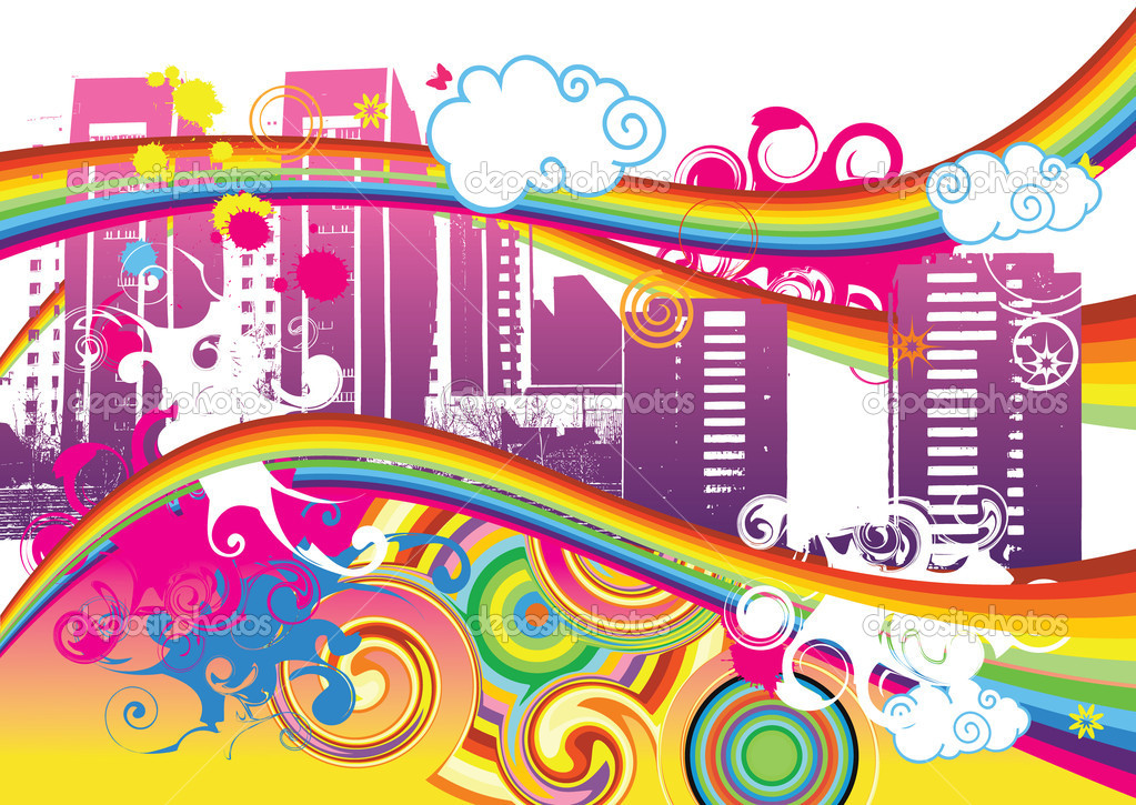 Swirling Rainbow City Vector Illustration — ベクター素材ストック #1264882