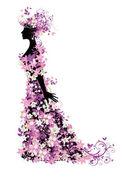 Silhouette of woman with flowers — Stock Vector