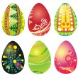 Set of six Easter eggs - Stock Vector