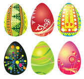 набор из шести пасхальные яйца — Cтоковый вектор