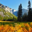 Early autumn  in valley of mountains — Stock Photo