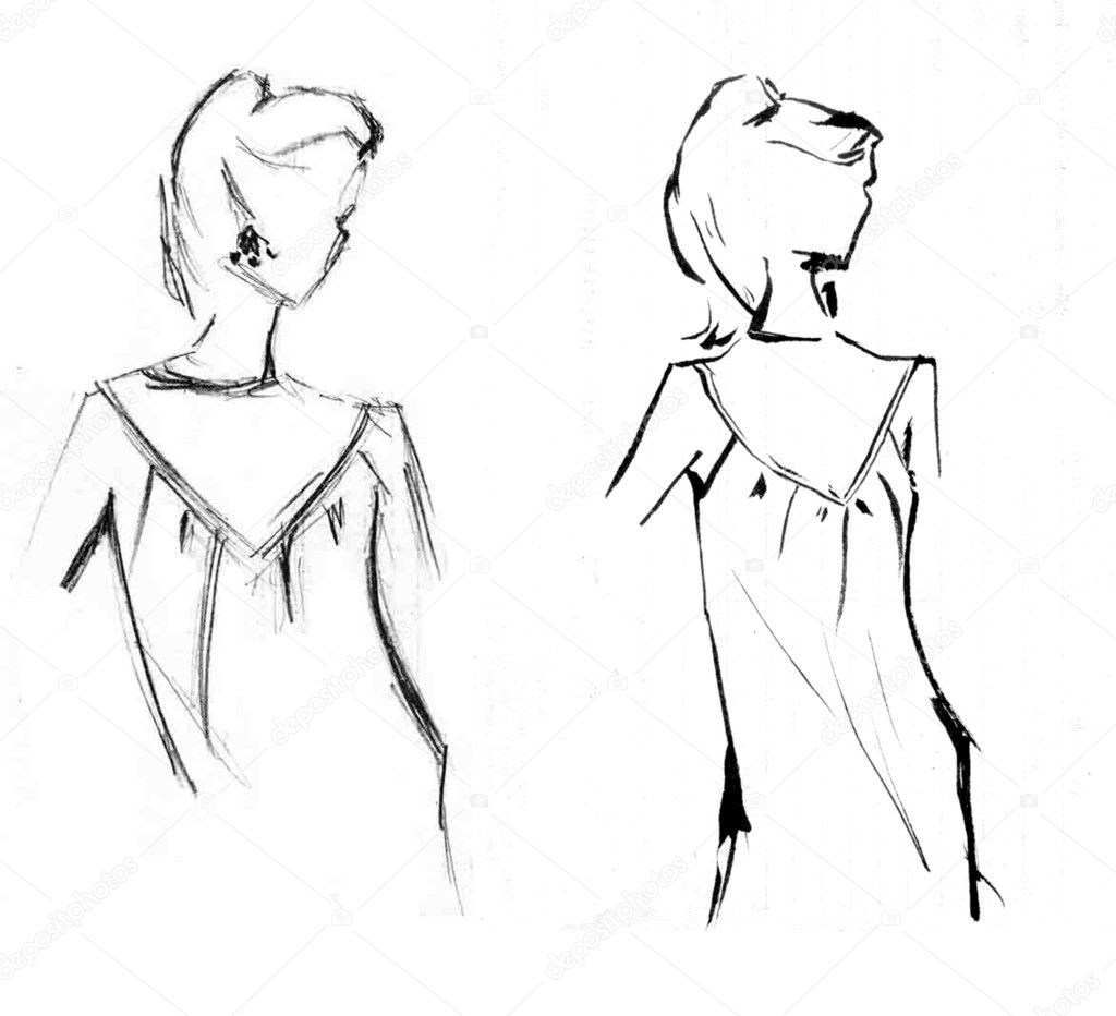 Sketch two girls  — Stock Photo #1252703