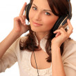 Beautiful girl in headsets — Stock Photo
