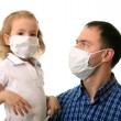 Family in medical masks — Stock Photo