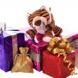 Royalty-Free Stock Photo: New-year tiger cub with gifts.