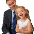 Businessman with little daughter. — Stock Photo