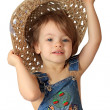 A girl is in a hat. — Stock Photo