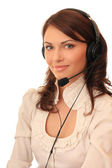 Beautiful girl in headsets with a microp — Stock Photo