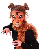 Girl in appearance a tiger. — Stock Photo