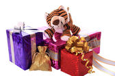 New-year tiger cub with gifts. — Stock Photo