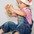 A girl is in a new-year cap. — Stock Photo