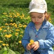 Little girl with dandelions. — 图库照片 #1246935
