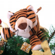 Tiger cub on a new-year tree. — Zdjęcie stockowe