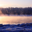 Stock Photo: Winter landscape. Breathing of river