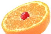 Grain of pomegranate is in a mandarine. — Stock Photo