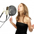 A girl sings — Stock Photo