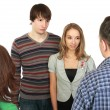 Meeting of young pair with parents. - Stock Photo