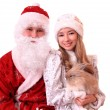 Royalty-Free Stock Photo: Santa Claus and a Snowmaiden with  rabbi