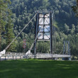Stock Photo: Suspended bridge through Katun.