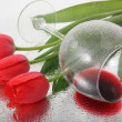 Red tulips and wine in the rain. — Stock Photo