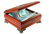 Casket with Russian rubles. — Stock Photo