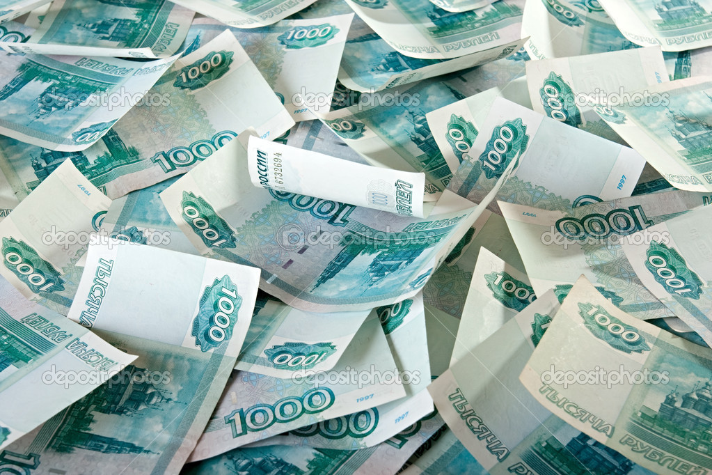Background of thousandths of notes. Russian Ruble. — Stock Photo #2527060