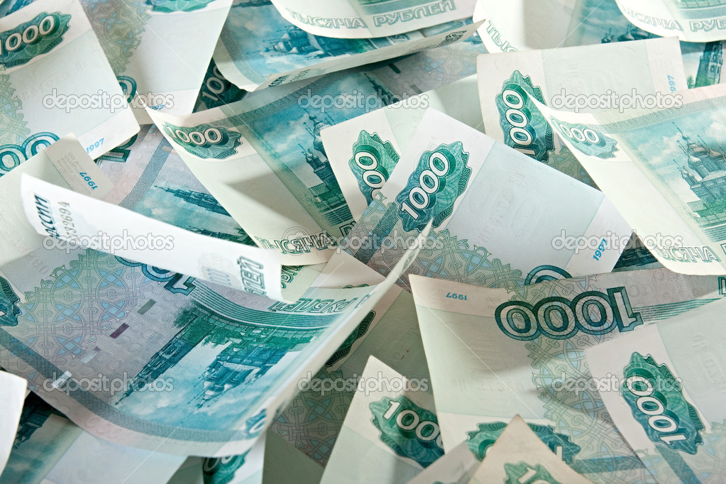 Background of thousandths of notes. Russian Ruble. — Stock Photo #2527105