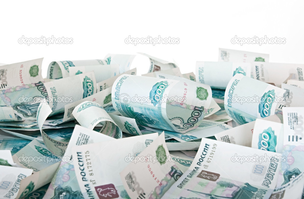 Background of thousandths of notes. Russian Ruble.  Stock Photo #2527244