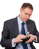 Businessman count cash. — Stock Photo