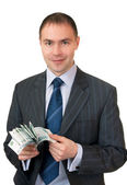 Businessman count cash. — Stock Photo
