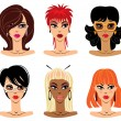 Royalty-Free Stock Vector Image: Set of woman portraits