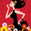 Vector de stock : Fashion shopping girl