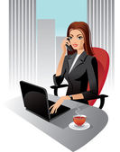 Illustration of business woman in office — Stock Vector