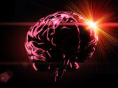 Brain on background with sun — Stock Photo