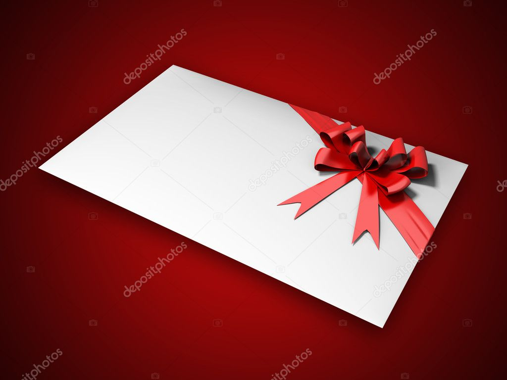 Present with bow on red background  Stock Photo #1221471