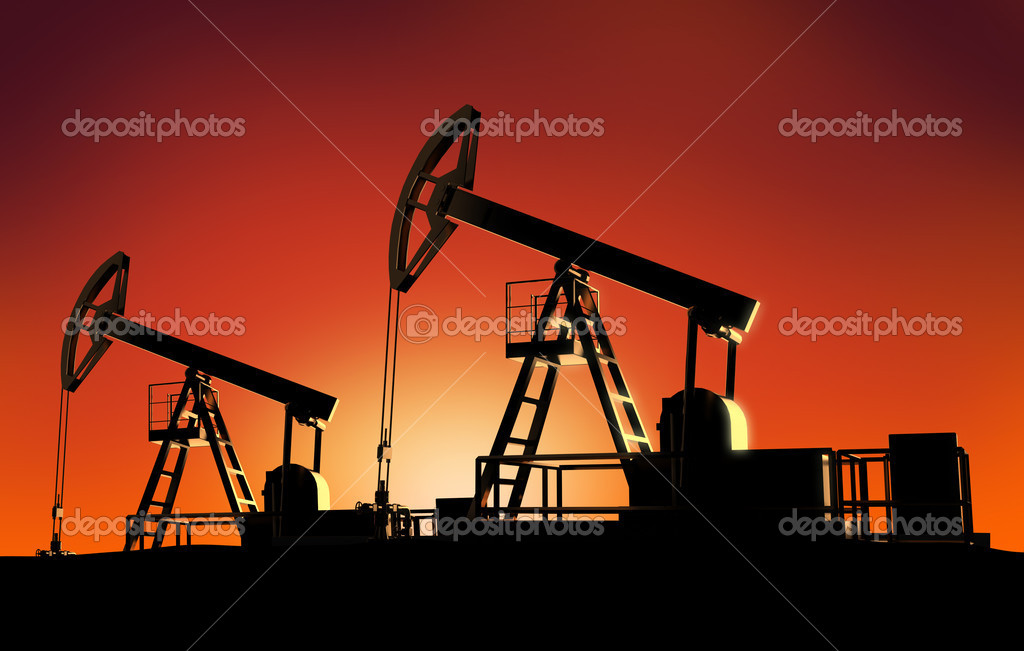 Oil towers on sunset — Stock Photo #1231175
