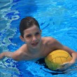Stock Photo: Boy with waterpolo ball