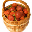 Stock Photo: Strawberry in wicker basket