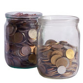 Two glass jars with coins — Stock Photo